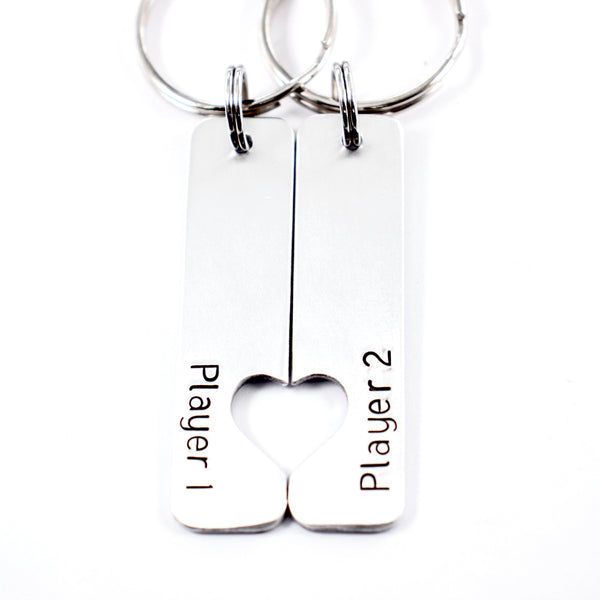 """Player 1"" & ""Player 2"" Couples Keychain Set"