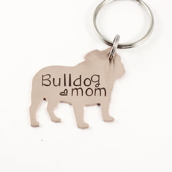 """bulldog mom"" - Hand Stamped, copper bulldog Keychain - ready to ship"