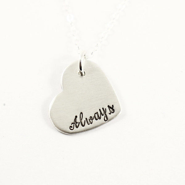 """Always"" Sterling Silver Heart Charm Necklace - Completely Hammered"