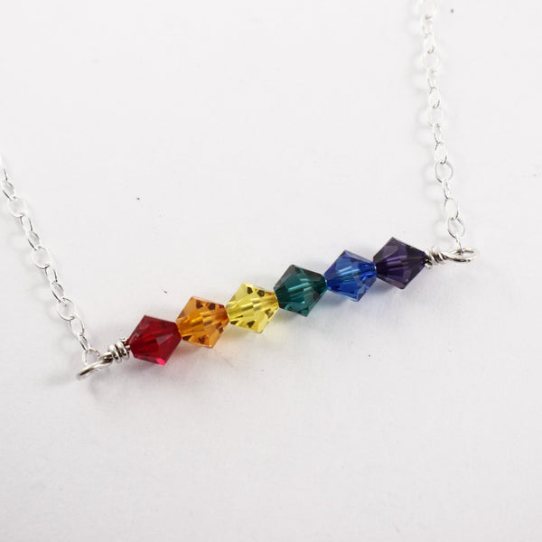 Rainbow necklace - Swarovski Crystal and Sterling Silver