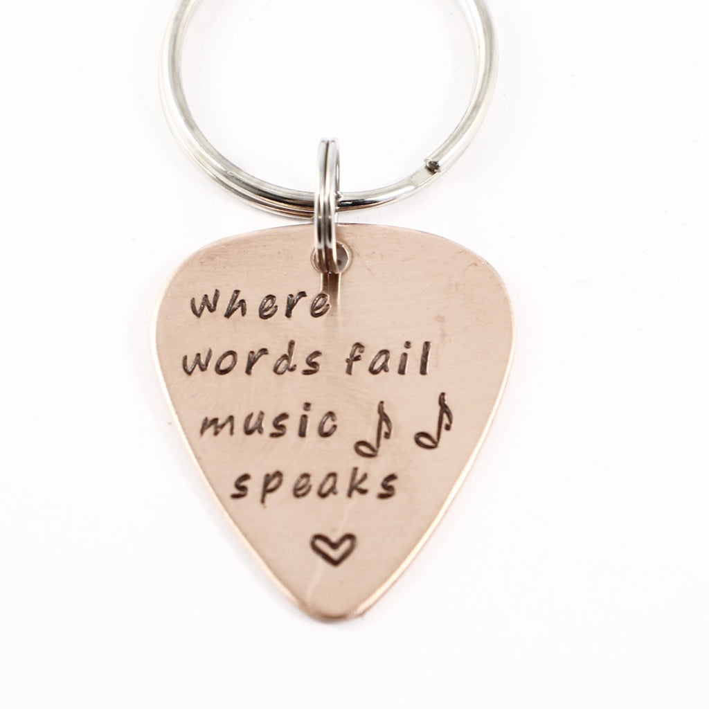 """Where words fail, music speaks"" Guitar Pick Keychain - Discounted and Ready to Ship"