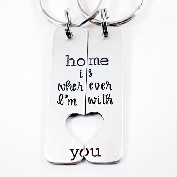 """Home is wherever I'm with you"" Couples Keychain Set"