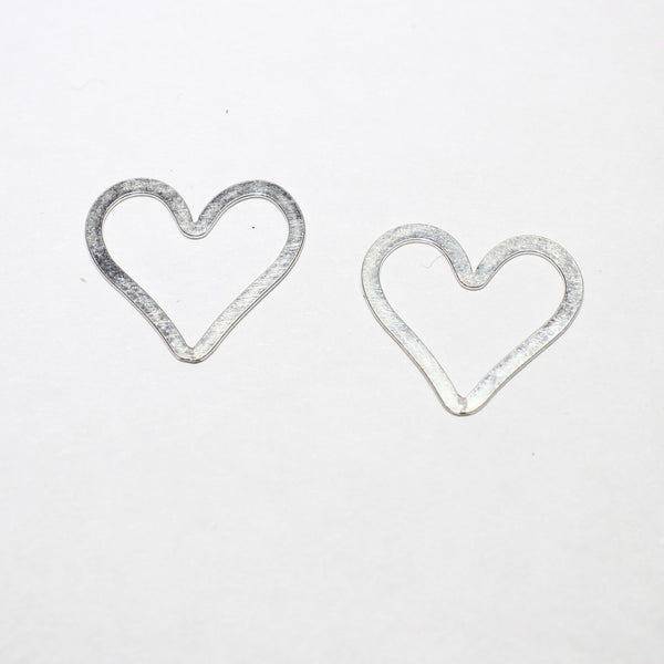 Sterling Silver Flat Heart Component - Supply Destash