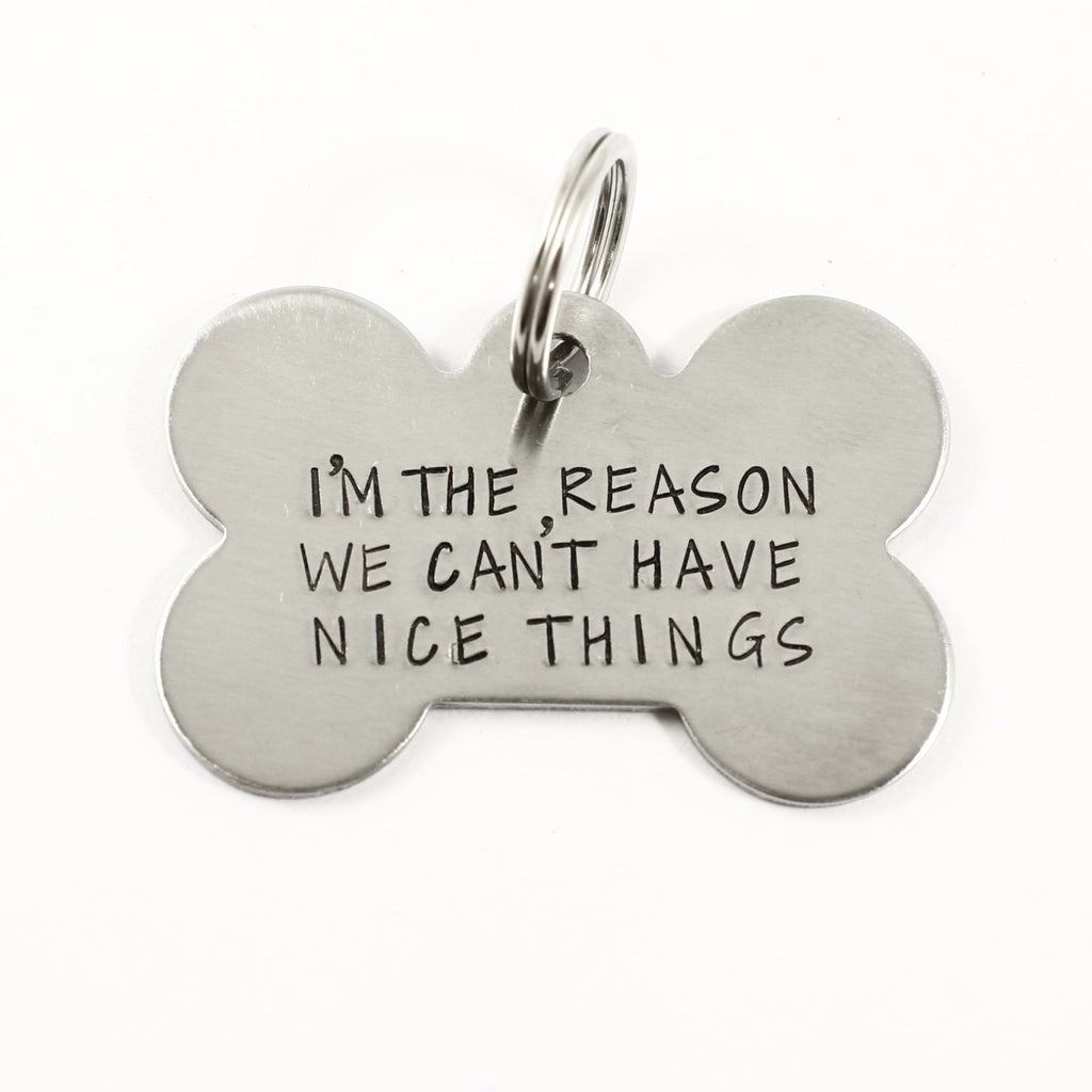 "Pet ID Tag -  ""I'm the reason we can't have nice things"""
