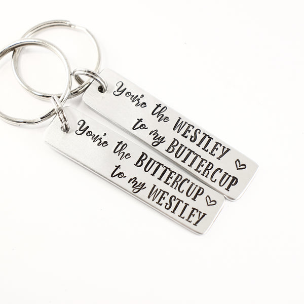 "Buttercup and Westley Keychain Set - ""The Princess Bride"" Inspired - Keychains - Completely Hammered - Completely Wired"