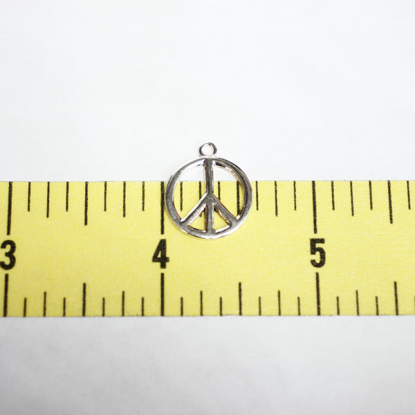 Sterling Silver Peace Sign Charm - Supply Destash
