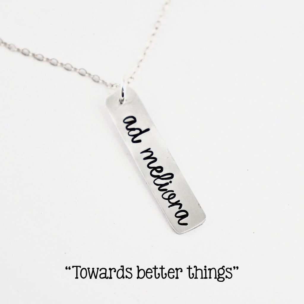 """ad meliora"" (toward better things) Necklace / Charm - Sterling Silver, Gold Filled or Rose Gold Filled - Latin Collection - Necklace - Completely Hammered - Completely Wired"