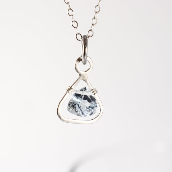 Sterling silver and Princess Cut Blue Topaz Pendant