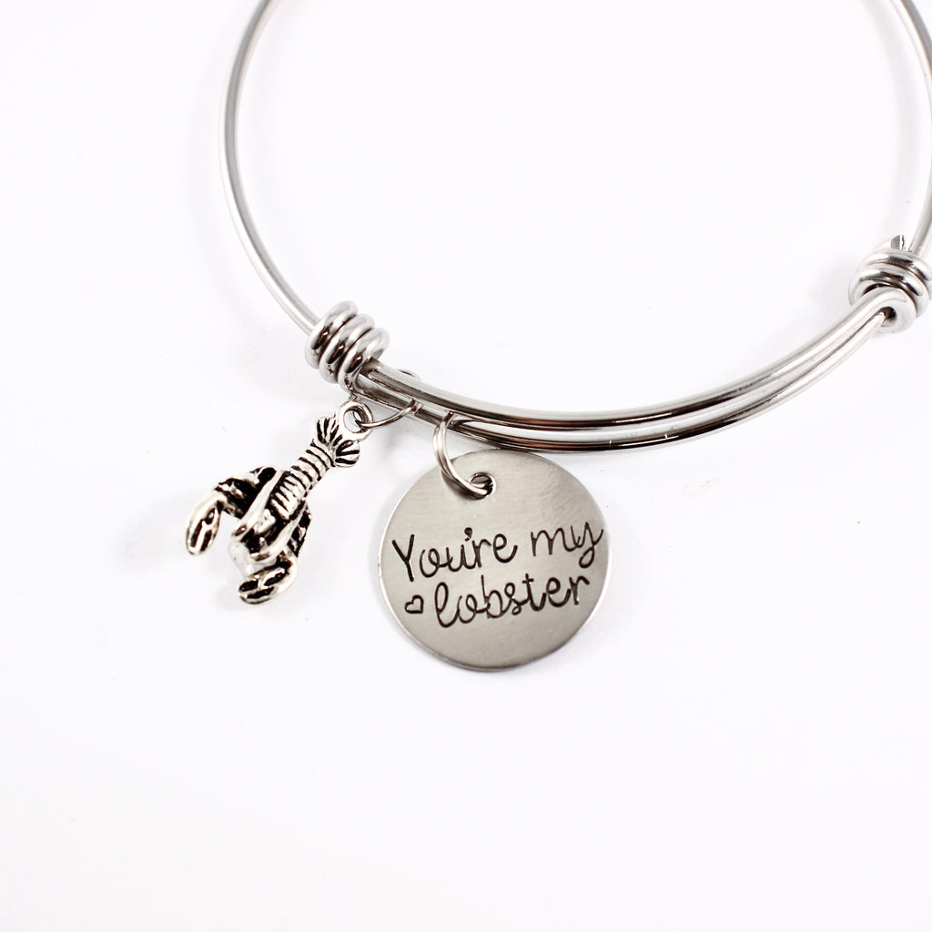 """You're my lobster"" Stainless steel bangle bracelet"