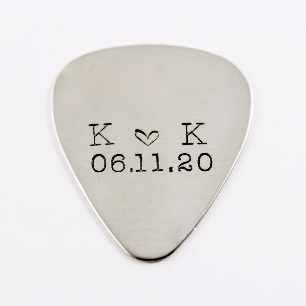 Custom, Hand stamped Guitar Pick with initials and date - Stainless Steel