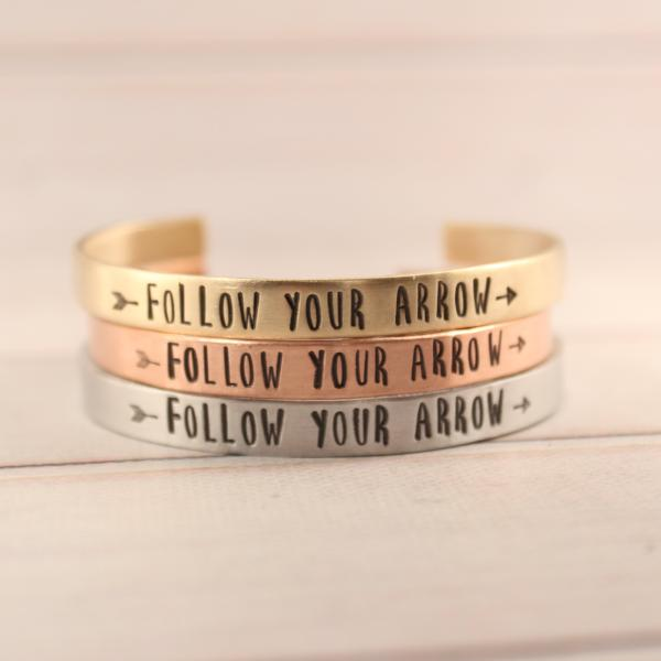 """Follow Your Arrow"" Cuff Bracelet - Your choice of pure aluminum, copper, brass or sterling silver - Cuff Bracelets - Completely Hammered - Completely Wired"