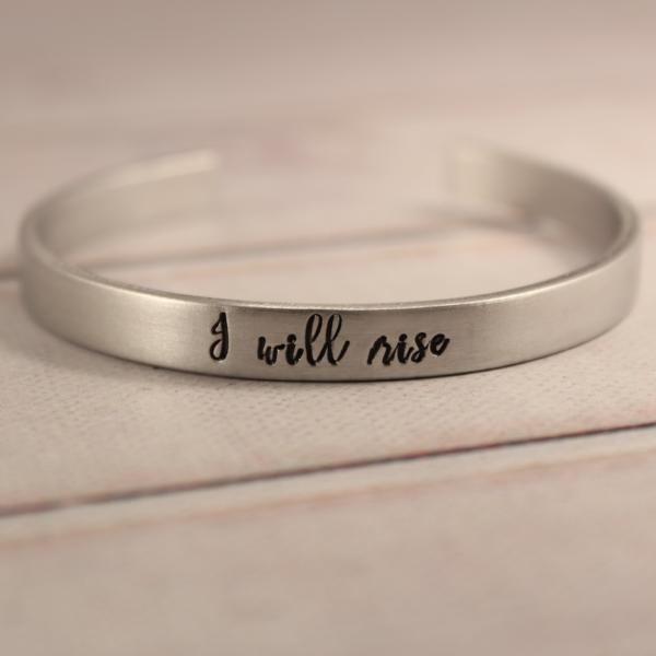 """I will rise""  - 1/4"" cuff bracelet - Cuff Bracelets - Completely Hammered - Completely Wired"