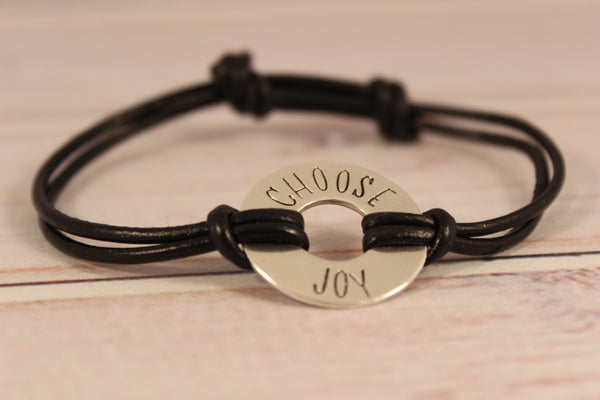 Custom Washer Affirmation Bracelet with Leather Band - YOUR CHOICE OF METALS - Bracelet - Completely Hammered - Completely Wired