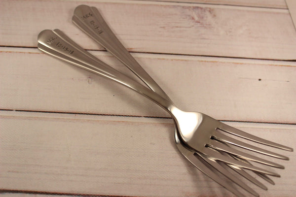 Mr and Mrs Cake Forks with Date -  - Completely Hammered - Completely Wired