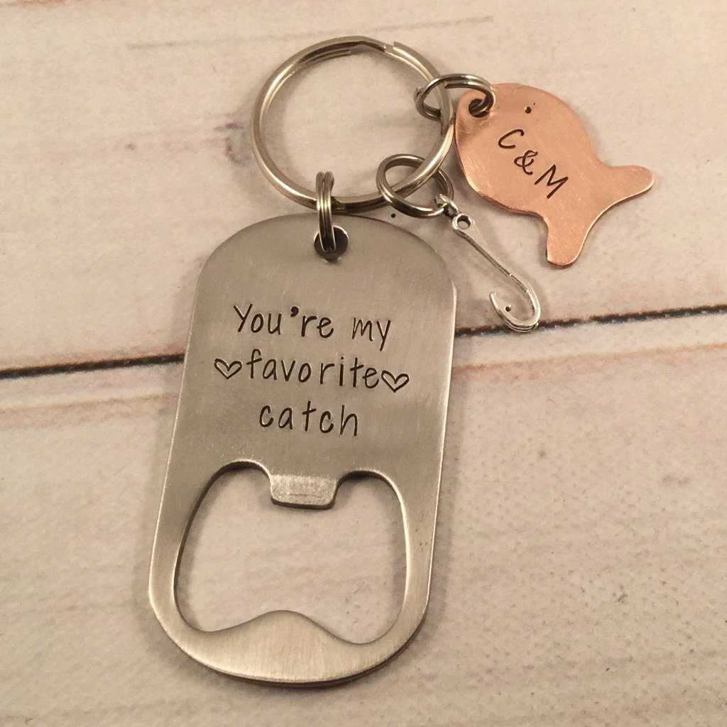 """You're my favorite catch""  Stainless Steel Bottle Opener - Keychains - Completely Hammered - Completely Wired"