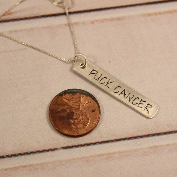 """Fuck Cancer"" Necklace - Necklaces - Completely Hammered - Completely Wired"