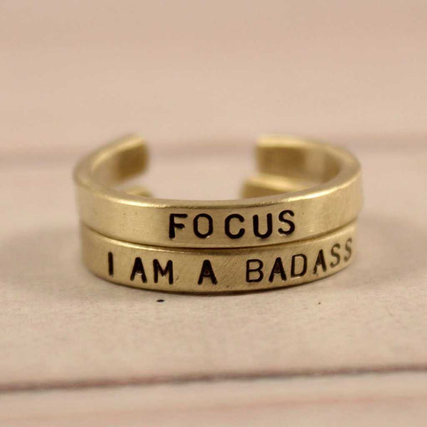 """I AM A BADASS"" Skinny Adjustable Ring - Available in Brass & Copper - Ring - Completely Hammered - Completely Wired"