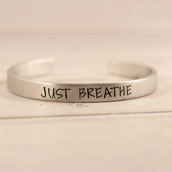 """JUST BREATHE"" Cuff Bracelet - Available in Aluminum, Copper, Brass or Sterling - Cuff Bracelets - Completely Hammered - Completely Wired"
