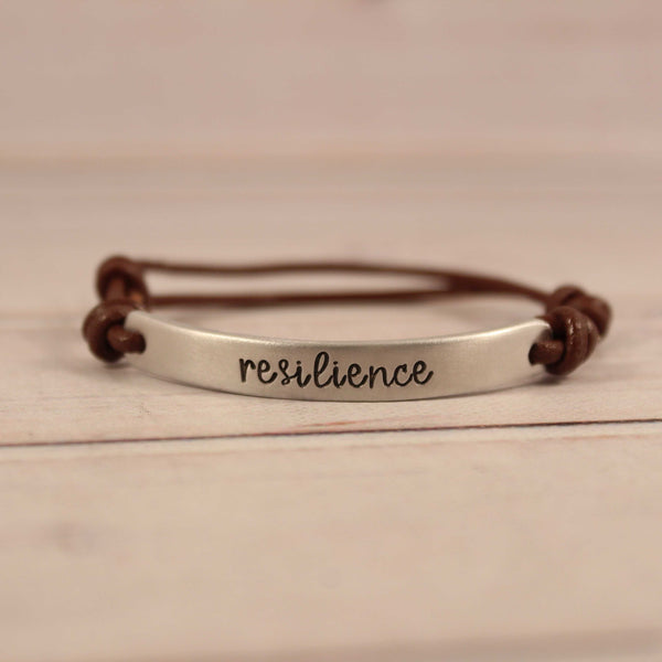 Custom Hand Stamped Bracelet with Leather Band - Bracelet - Completely Hammered - Completely Wired