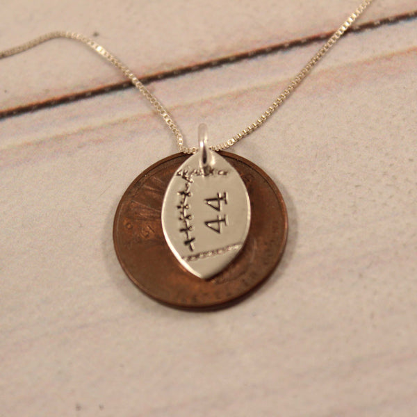 Football with Numbers Sterling Silver Charm Necklace - Necklaces - Completely Hammered - Completely Wired