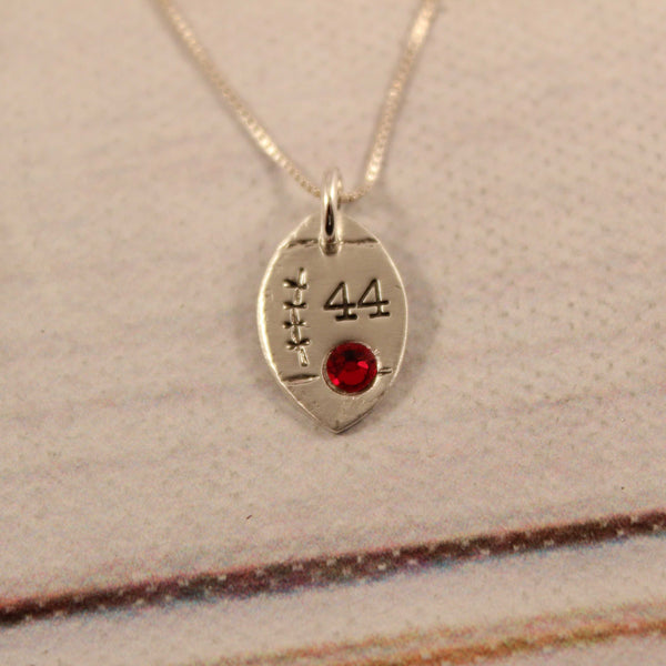 Football with Number and Crystal Sterling Silver Charm Necklace - Necklaces - Completely Hammered - Completely Wired