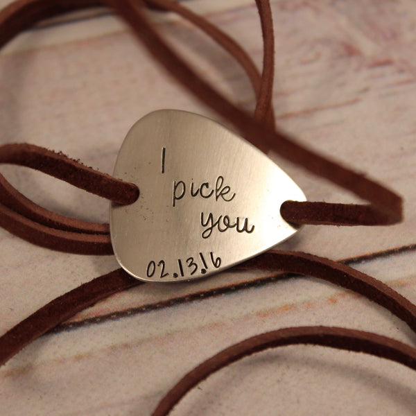 """I Pick You"" Guitar Pick leather wrap bracelet - Bracelet - Completely Hammered - Completely Wired"
