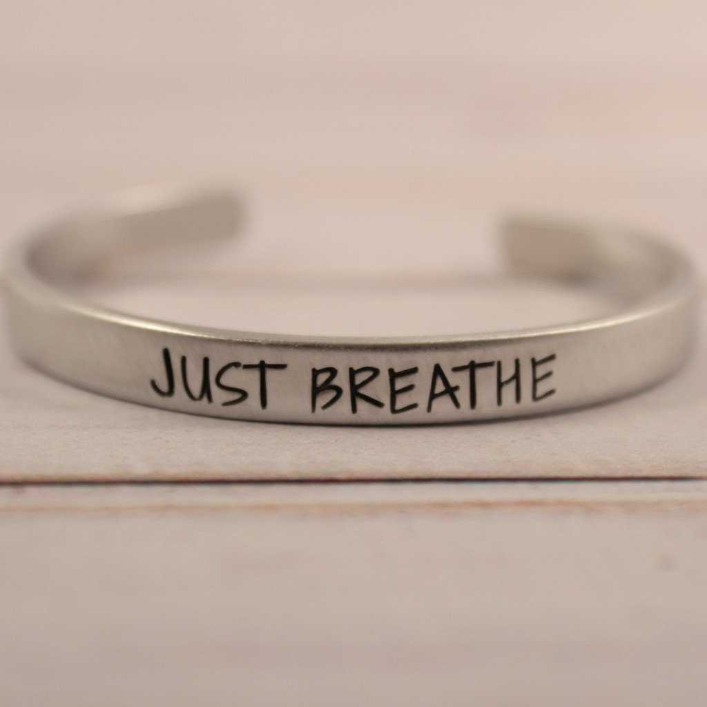 """JUST BREATHE"" Cuff Bracelet - Available in Aluminum, Copper, Brass or Sterling"