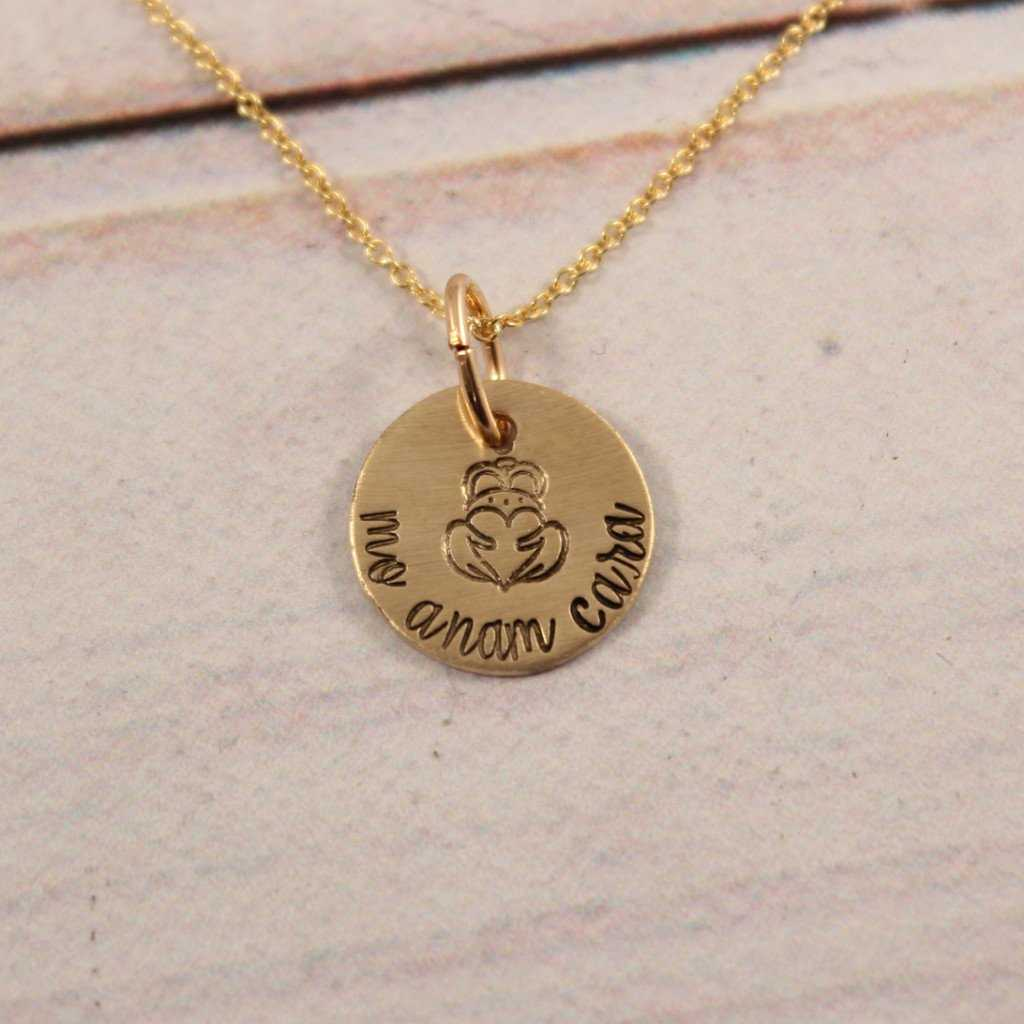 """Mo Anam Cara"" - Irish / Gaelic Hand stamped Brass and Gold Filled Necklace - Necklaces - Completely Hammered - Completely Wired"