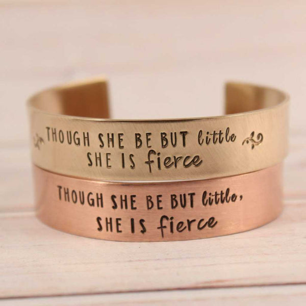 """Though she be but little, she is fierce"" 1/2"" Cuff  - Copper Shakespeare Quote Bracelet - Cuff Bracelets - Completely Hammered - Completely Wired"