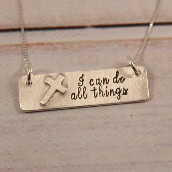 """I can do all things"" Sterling Silver Necklace - Philippians 4:13"