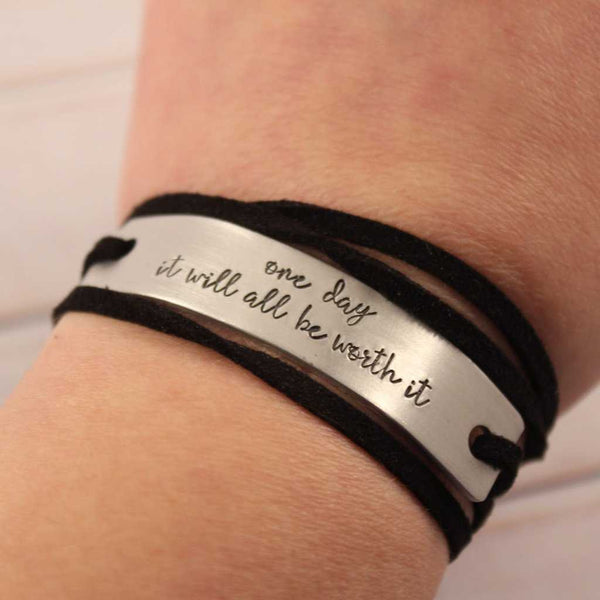 Custom Hand Stamped Aluminum and Suede Wrap Bracelet