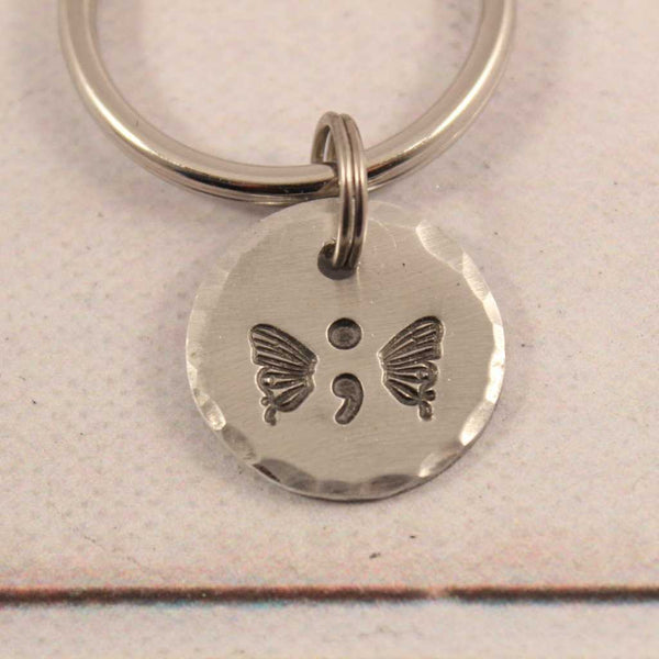 Hand Stamped Semi Colon Butterfly Keychain - Keychains - Completely Hammered - Completely Wired