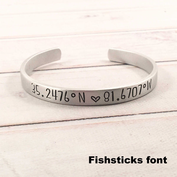 Custom Coordinate Bracelet - GPS Location - Coordinate Jewelry - Cuff Bracelets - Completely Hammered - Completely Wired