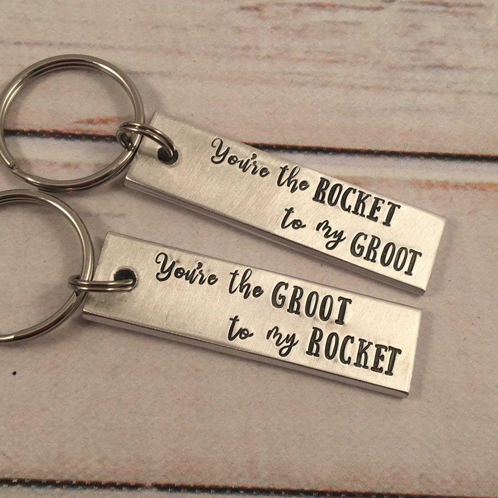 You're the Rocket to my Groot / You're the Groot to my Rocket Keychain Set - Keychains - Completely Hammered - Completely Wired
