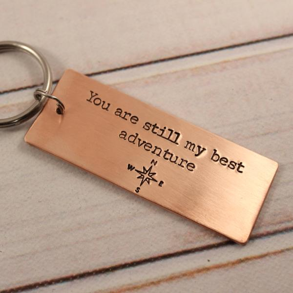 Custom,  Hand Stamped Copper Keychain personalized with YOUR CHOICE of TEXT - love letter keychain - Keychains - Completely Hammered - Completely Wired
