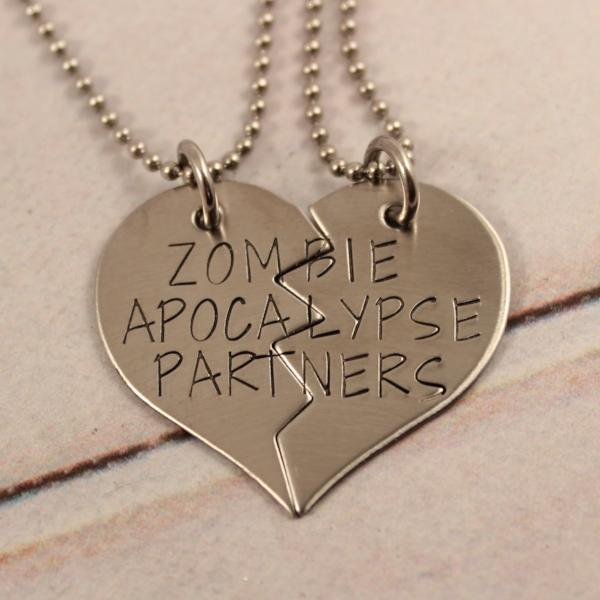 """Zombie Apocalypse Partners"" Necklace or Keychain Set #PR - Couples Sets - Completely Hammered - Completely Wired"