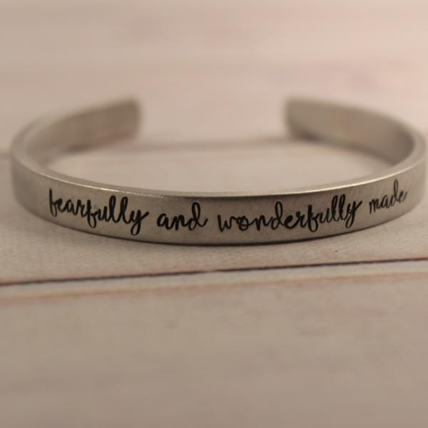 """fearfully and wonderfully made"" Cuff Bracelet - Available in Aluminum, Copper, Brass or Sterling"