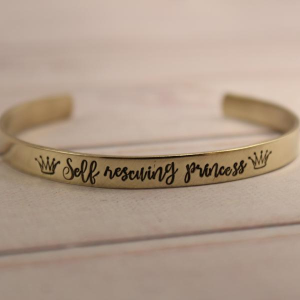 """Self rescuing Princess"" Cuff Bracelet - Available in Aluminum, Copper, Brass or Sterling - Cuff Bracelets - Completely Hammered - Completely Wired"