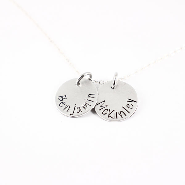 Name charm necklace / Mother necklace - your choice of 1-5 disks - Necklaces - Completely Hammered - Completely Wired