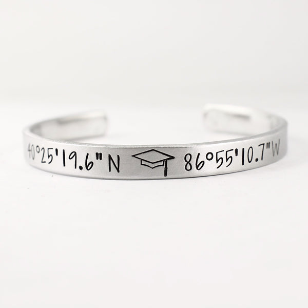 Graduation Custom Coordinate Bracelet - GPS Location - Coordinate Jewelry - Cuff Bracelets - Completely Hammered - Completely Wired