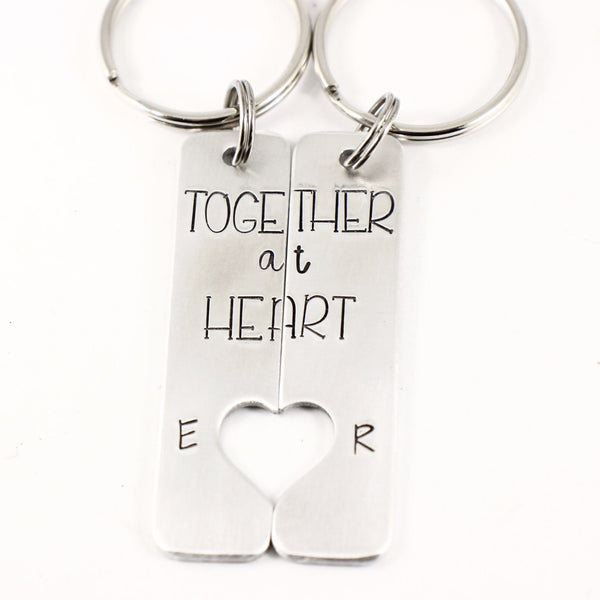 """Together at Heart"" Couples Keychain Set - Keychains - Completely Hammered - Completely Wired"
