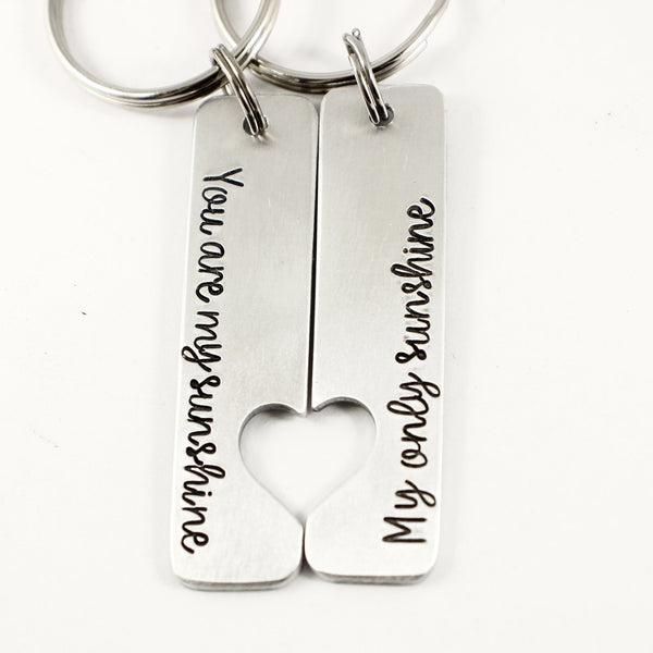 """You are my sunshine My only sunshine"" - Couples Keychain Set - Keychains - Completely Hammered - Completely Wired"