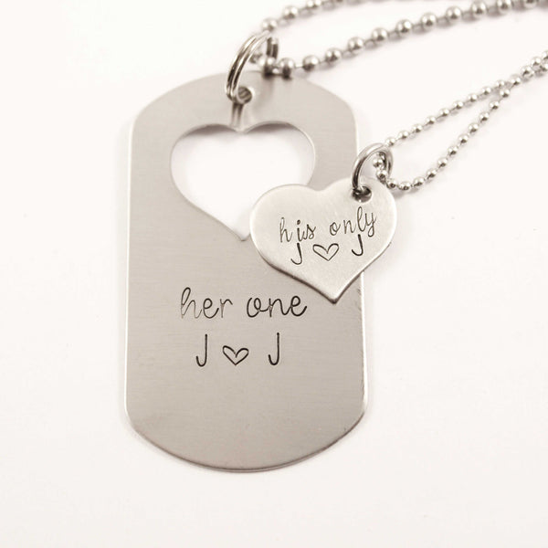 """Her One"" & ""His Only"" dog tag with heart cut out & Heart set - Necklaces - Completely Hammered - Completely Wired"