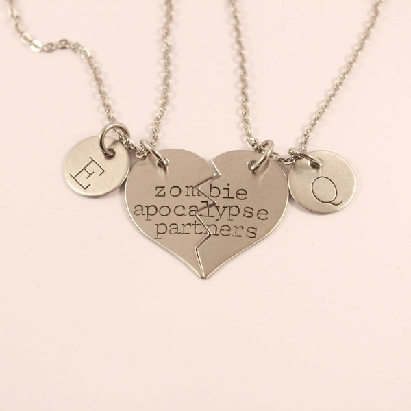 """Zombie Apocalypse Partners"" Necklace or Keychain Set - Couples Sets - Completely Hammered - Completely Wired"