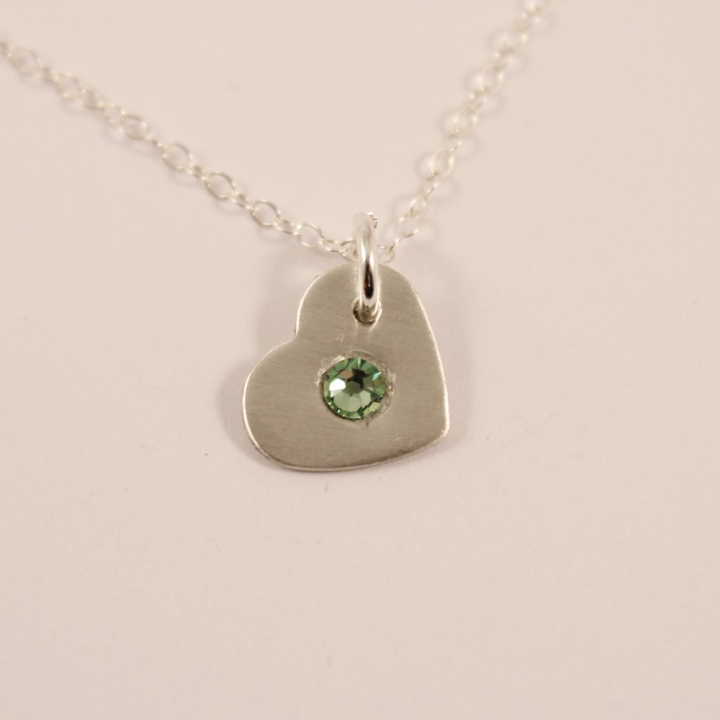 Birthstone Heart Charm - Sterling Silver Charm / Necklace - Necklaces - Completely Hammered - Completely Wired
