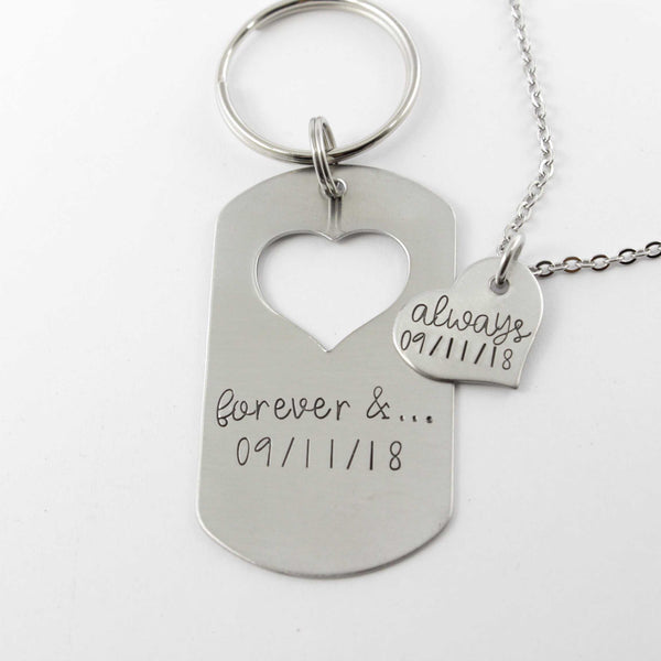 Forever and Always - dog tag with heart cut out & Heart set