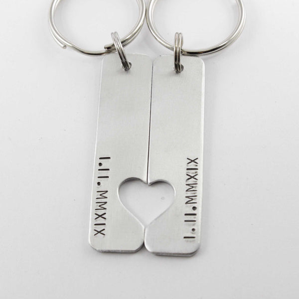 Roman Numeral Couples Keychain Set - Keychains - Completely Hammered - Completely Wired
