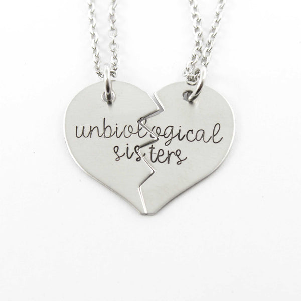 """Unbiological Sisters"" Broken Heart Necklace Set - Necklaces - Completely Hammered - Completely Wired"
