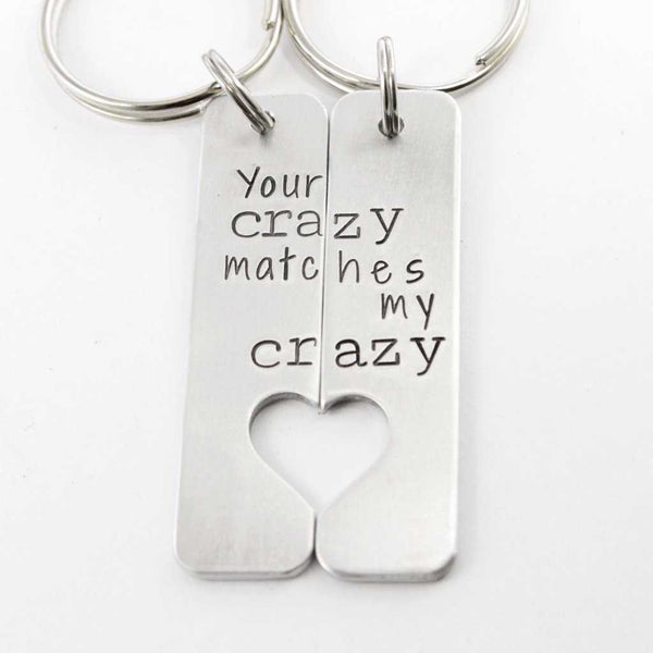"""Your crazy matches my crazy"" - Deadpool Inspired Couples Keychain Set - Keychains - Completely Hammered - Completely Wired"