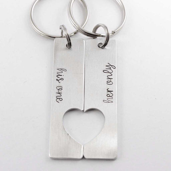 """his one"" ""her only"" - Couples Keychain Set - Keychains - Completely Hammered - Completely Wired"